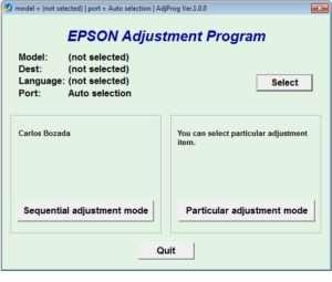 Reset Epson L382 printer with Epson adjustment program